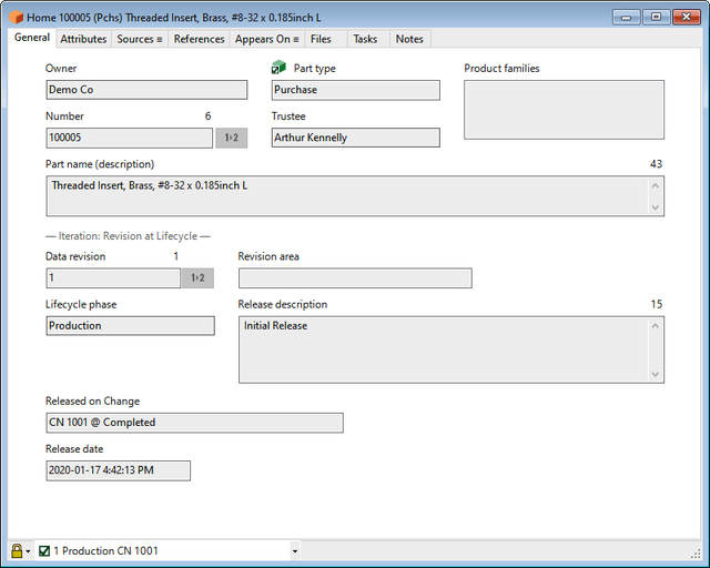 PDXpert PLM software part window