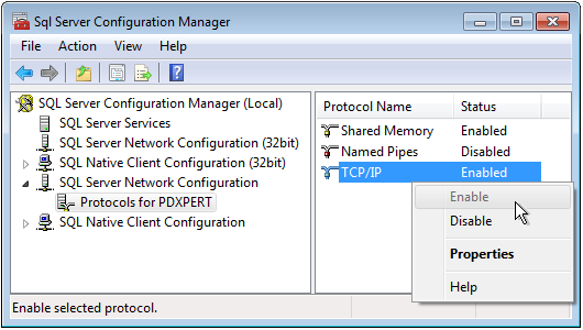 Enable TCP/IP in SQL Configuration Manager
