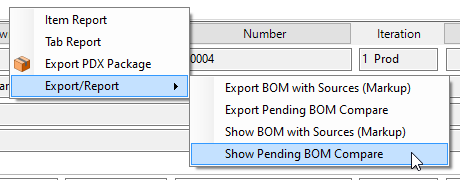 Context menu optional export report