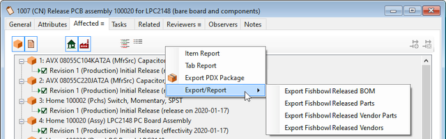 PDXpert change form Affected list's context menu for exporting data to Fishbowl