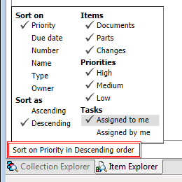 Item Explorer filter and sort Tasks tab