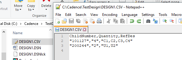 OrCAD BOM as final CSV import file