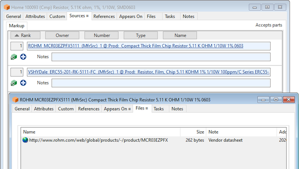 OrCAD example resistor approved sources with link to datasheet