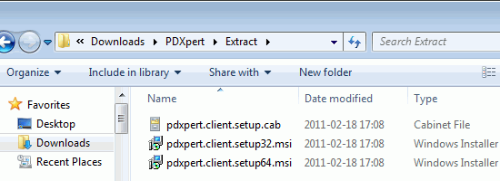 Extracted CAB and MSI files in folder
