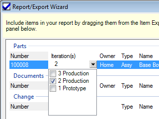 Report/Export Wizard revision selection